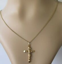 Vintage 9ct yellow gold crucifix cross pendant & 9ct gold chain (4.9g)