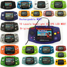 Rechargeable V2 IPS Backlight LCD Mod Nintendo Game Boy Advance GBA Game Console