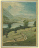 Roland Williams - Signed & Framed 1875 Oil, Peaceful Mountainside