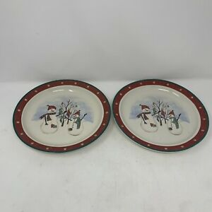 "ROYAL SEASONS Stoneware Snowmen Holiday Christmas 10"" Dinner Plates Set of 2"