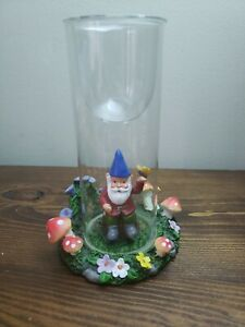 Yankee Candle Gnome Tea Light Holder with mushroom Glass Tube