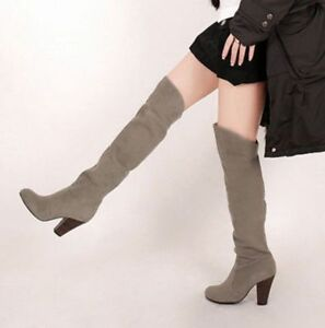 Womens Lady Over the Knee Boots Stretch Low Heel Zipper Lace Up Long Slim Shoes
