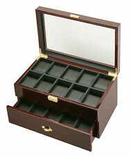 New High Quality Diplomat Dark Cherry Wood 20 Watch Storage Box / Display Case