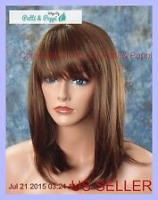 HUMAN HAIR BLEND HEAT FRIENDLY WIG DARK RED BROWN M4.30 DARLING BOB US SELL 255