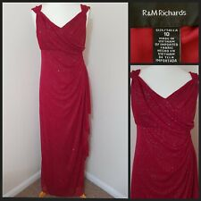 R & M Richards Red Silver Glitter Dress, evening wedding party size 10