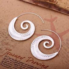 Vintage Inspired Detailed Matte Silver  Leaf tribal Spiral Hoop Boho Earrings