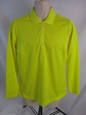 Nike Dri Fit Womens Large Yellow Long Sleeve Pull Over Polo Top Shirt CB29i