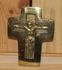 Vintage religious hand made brass wall hanging plaque crucifixion