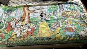 Vintage Exclusive Disney Snow White 7 Dwarfs Bath Beach Towel Cotton 60x32 BIN