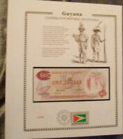 Guyana Banknote 1 Dollar 1966-92 P 21d UNC w / UN FDI FLAG STAMP prefix A/79