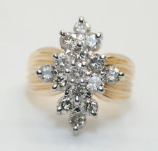 GORGEOUS Women's Vintage 14K Gold 1+ Ct Diamond Waterfall Ring Size 7