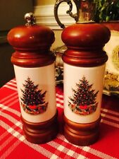 "Mr. Dudley Pfaltzgraff Christmas Tree 7.5"" Pepper Mill Grinder Salt Shaker Set"