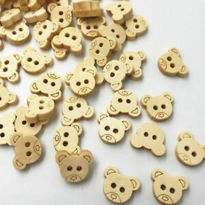 Decorative Bear Wooden Buttons Natural Teddy Bear Charms 2Holes Wood Sewing DIY
