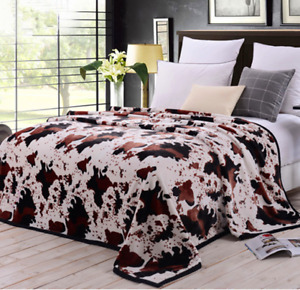 Heavy 930GSM Soft King Size Mink Blanket Double Layer Winter Throw 5kg Cow Print