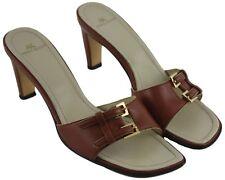 Anne Klein Womens Ladies AK Brown Leather Buckle Slip On Heels Sandals Size 8M