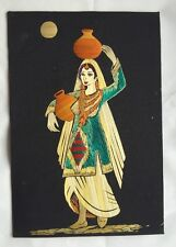 Vintage Indian Straw Folk Art Picture of Woman Original Straw Art Wall Painting