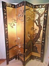 "Mid century ASIAN folding room screen/divider 4 panel each is 16x69+2""feet"