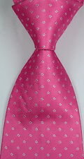 New Classic Pattern Solid Pink JACQUARD WOVEN Silk Men's Tie Necktie
