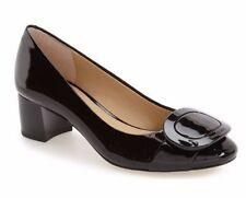 $135 size 6.5 Michael Kors Pauline Black Leather Mid Pump Womens Dress Shoes