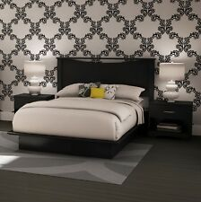 Black 4 Piece Full Platform Headboard Bed Collection Set Home Bedroom Furniture