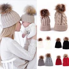 😍😍Mum Mom And Baby Child Matching Pair Knited Cotton Wooly Pon Ski Winter Hat