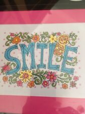 "SMILE counted cross stitch kit - ARTISTE by Zweigart - 10.75"" x 7.625"""