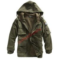 Men's Green Military Coat Fleece Outwear Thicken Warm Hooded Lined Jacket Parka