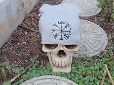 vegvisir gray embroiderd beanie hat thors hammer asatru norse