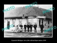 OLD LARGE HISTORIC PHOTO OF COPEMISH MICHIGAN THE RAILROAD DEPOT STATION c1910