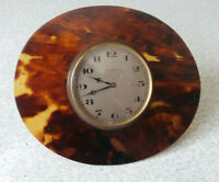 LOVELY ANTIQUE SMALL BRASS BEDSIDE CLOCK  - NEEDS WORK -  8 DAY - 4 1/2 X 4 INCH