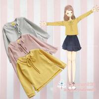 Sweet Lolita Girls Womens Bow Kawaii Japanese Loose Autumn T-Shirt Blouse Tops