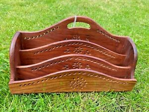 CARVED WOOD WITH BRASS INLAID CORRESPONENCE LETTER RACK PIERCED AFRICAN