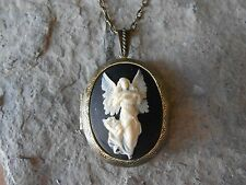 GUARDIAN ANGEL CAMEO LOCKET NECKLACE - CREAM - BLACK - ANTIQUED BRONZE!! QUALITY