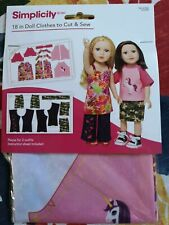 """Simplicity Sewing Pattern 18"""" Doll Clothes to Cut & Sew_502811004"""