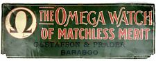 Antique 1900's OMEGA WATCH Metal Tin SIGN Original Dealer Repair