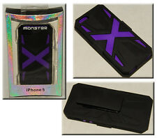 MONSTER - iphone 5 - Black & Purple - Cell Phone CASE w/ Belt CLIP & Screen *NEW