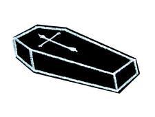 Future Corpse Coffin w Cross Iron on Applique Patch Goth Occult Punk Alternative