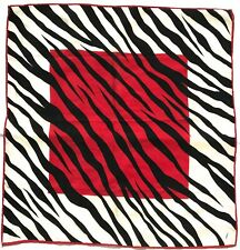 "Designer JAMMERS & LEUFGEN JL Geometric Red Black ANIMAL Silk 20"" Scarf Bandana"