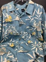 SILK ICON Men's Hawaiian XXL Aloha Silk Shirt Palm Trees Volcanoes Flowers Blue