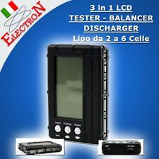 Tester SCARICATORE BILANCIATORE 3in1 Lipo Li-fe 2s-6s LCD Battery CHECKER  Li-po