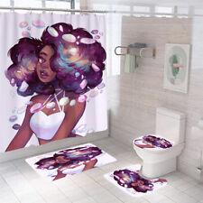 Pretty Girl Shower Curtain Bathroom Rug Set Bath Mat Non-Slip Toilet Lid Cover