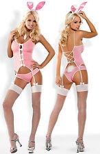 OBSESSIVE Bunny Luxury Corset, Fishnet Stockings, Ears and Matching Brief Set