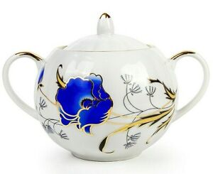 600 ml Blue Poppies Porcelain Dulyovo Sugar Bowl Floral Pattern, Made in Russia
