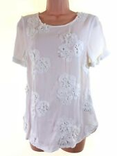 BNWT MONSOON ivory cream 3D floral applique embroidery blouse top size 8 36 £45