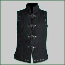 Thick Black Gambeson Medieval Padded collar sleeves less armor