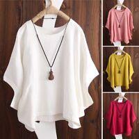 ZANZEA AU 8-24 Women Casual Loose Cotton Blouse Tee T Shirt Basic Plus Size Top