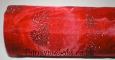 1m x 29cm RED GLITTER HEART ORGANZA - CRAFTS/TABLE RUNNER/WEDDING/VALENTINE'S