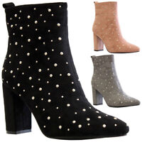 Ladies Block Heels Ankle Sock Boots Womens Pointed Toe Studded Office Shoes Size