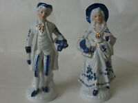 Two Ornate Glazed 1920s Blue-White Gold-Gilt Porcelain Ceramic Gentry Figurines
