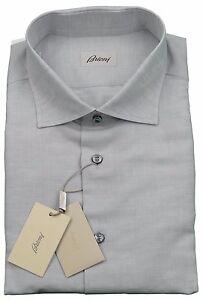 Brioni Mens H/S Linen Blend Grey Handmade Shirt BNWT SZ XXL / EU 43 - UK 17